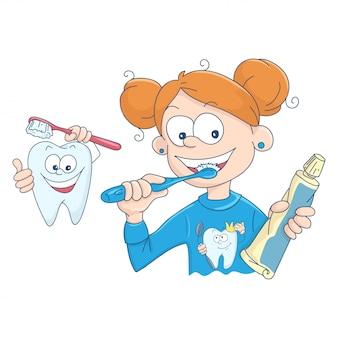 Illustratie van een klein meisje haar tanden poetsen