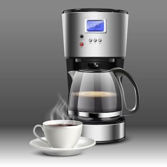 Illustratie van een koffiemachine met witte koffiekopje op een grijze achtergrond.