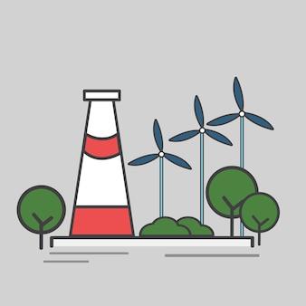 Illustratie van een krachtcentrale
