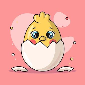 Illustratie van een kuikendier dat uit een gebarsten ei komt