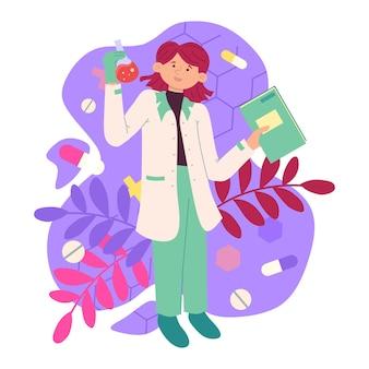 Illustratie van een laboratoriumassistent-meisje dat met belangstelling naar de vloeistof in een glasbreker kijkt