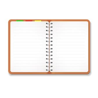 Illustratie van een lederen laptop met spiraalvormige, kleurrijke tabs, blanco gevoerd papier