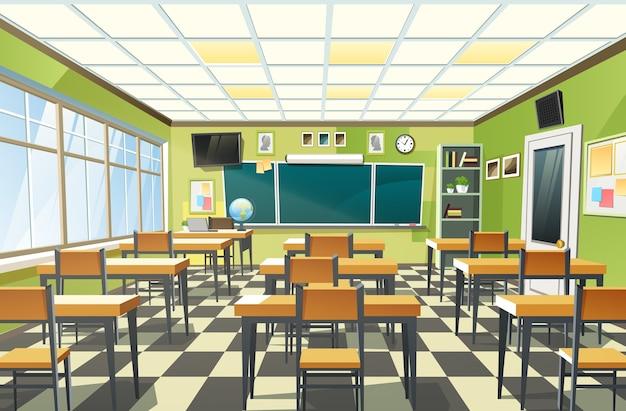 Illustratie van een leeg klaslokaal interieur