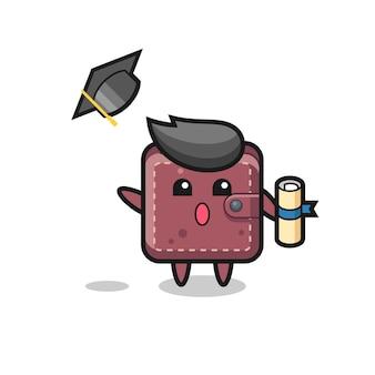 Illustratie van een leren portemonnee-cartoon die de hoed gooit bij het afstuderen