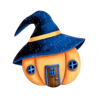 Illustratie van een leuk huis van de beeldverhaal magisch pompoen met een heksenhoed. halloween pompoen illustratie.