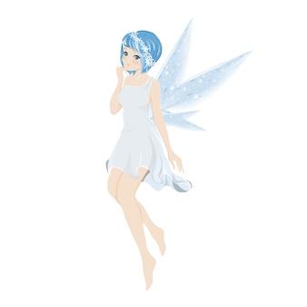 Illustratie van een leuke blauwe fee die met mooie vleugels vliegt