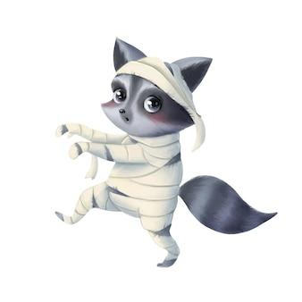 Illustratie van een leuke cartoon halloween-wasbeer die een mummiekostuum draagt halloween-dieren