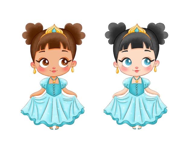 Illustratie van een leuke cartoonprinses. zwarte huidprinses