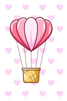 Illustratie van een liefdesvorm van de luchtballon