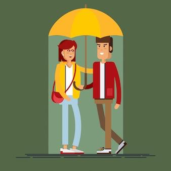 Illustratie van een liefdevol paar