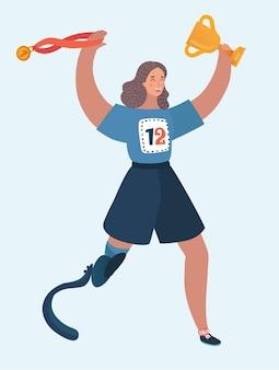 Illustratie van een lopende gehandicapte vrouw met winnaar beker en gouden medaille voor eerst.