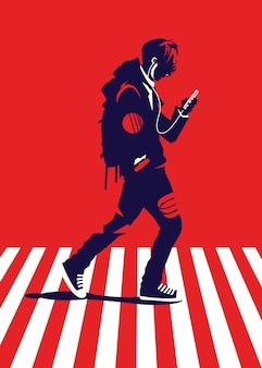 Illustratie van een man die een zebrakruis kruist