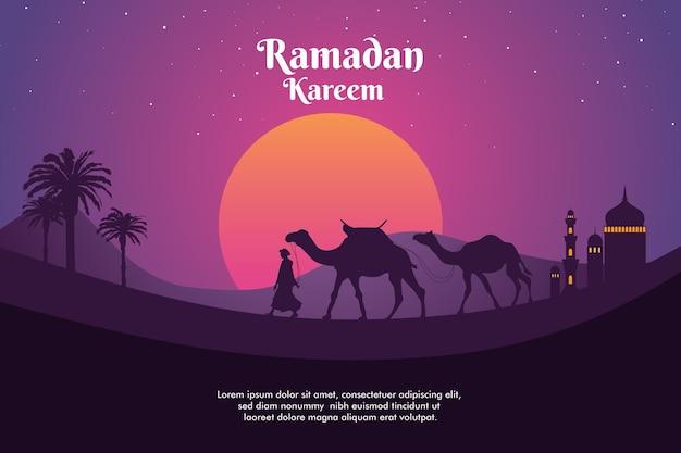 Illustratie van een man die met een kameel in een woestijn en een zonsondergang op de achtergrond loopt