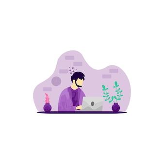 Illustratie van een man die met een laptop werkt