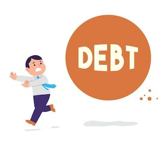 Illustratie van een man die rent omdat hij wordt achtervolgd door schulden en rekeningen