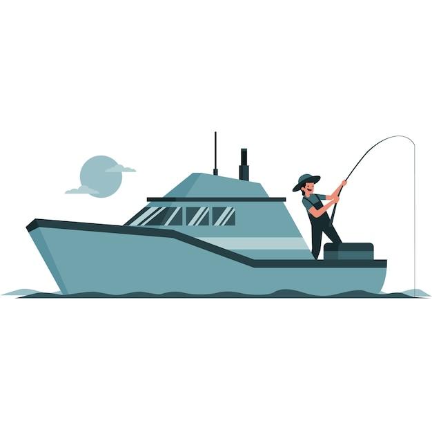Illustratie van een man die van een boot vist