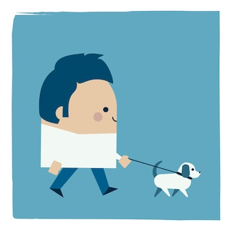Illustratie van een man die zijn hond loopt