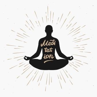 Illustratie van een man mediteren in de lotushouding met zwart-wit zonnestralen. illustratie