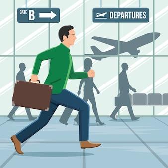 Illustratie van een man met bagage die in een haast loopt