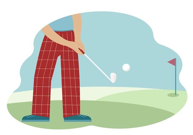 Illustratie van een mannelijke golfspeler die de bal raakt