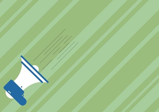 Illustratie van een megafoon die snelle nieuwe aankondiging maakt. megafoontekening die belangrijke snelle kennisgeving geeft. hoornluidsprekerschets die snelle promotie produceert.