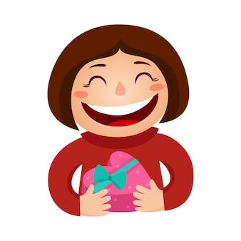 Illustratie van een meisje bedrijf lachend een geschenk hart. valentijnsdag