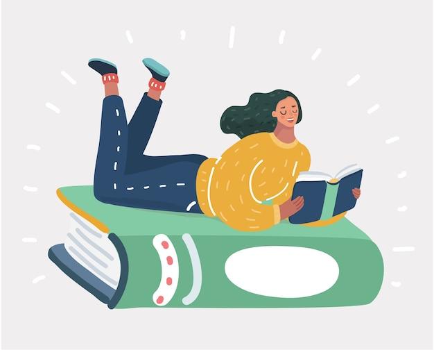 Illustratie van een meisje dat bij groen boek ligt