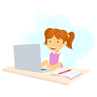 Illustratie van een meisje dat online studeert vanwege de pandemie