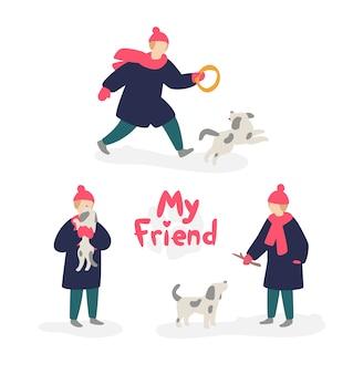 Illustratie van een meisje die met een hond spelen.