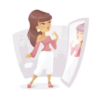 Illustratie van een meisje in een winkel