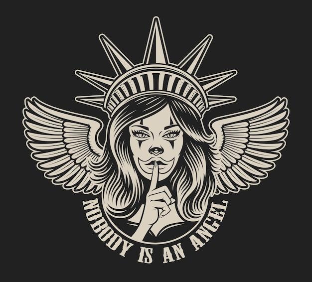 Illustratie van een meisje in hoofddeksels van het vrijheidsbeeld in chicano tattoo-stijl. geweldig voor kledingafdrukken en vele andere toepassingen.