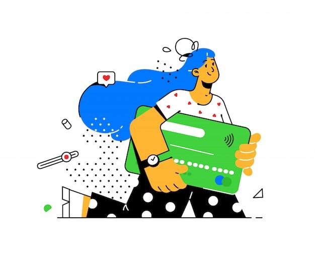 Illustratie van een meisje met een creditcard in avantgarde-stijl. bankklant met een betaalpas.
