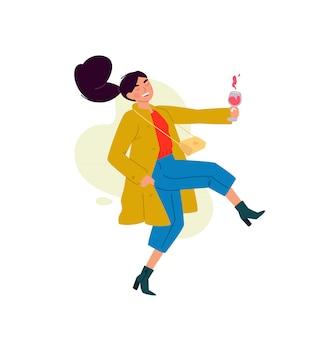 Illustratie van een meisje met een glas wijn.