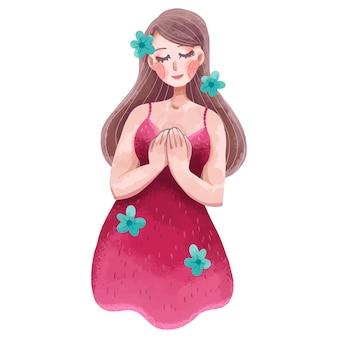Illustratie van een meisje met haar handen tegen haar borst gedrukt op de dag van borstkanker, in een roze jurk met bloemen