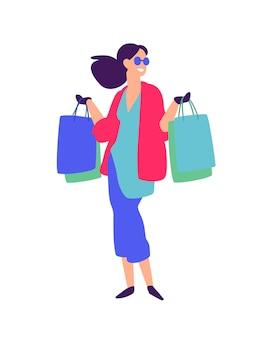 Illustratie van een meisje met winkelen.