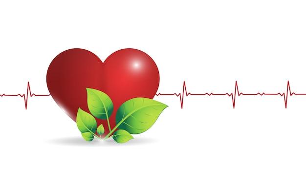 Illustratie van een menselijk hart op de achtergrond van een gloeiende grafische hartslag.
