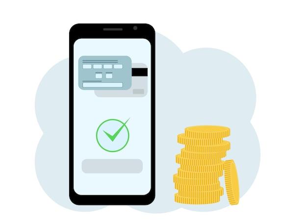 Illustratie van een mobiele telefoon met een afbeelding van een kaart, naast een stapel munten