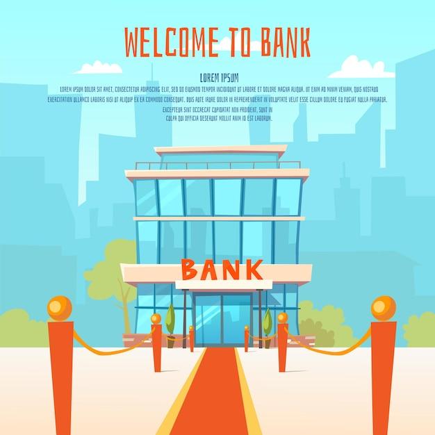 Illustratie van een moderne bank en de gebouwen van de stad