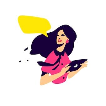 Illustratie van een modieus meisje met een tablet