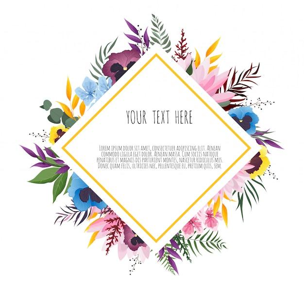 Illustratie van een mooi bloemenframe met geometrisch frame