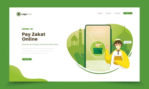 Illustratie van een moslim die zakat online betaalt