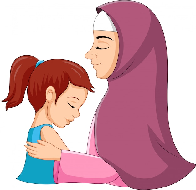 Illustratie van een moslimmoeder die haar dochter koestert