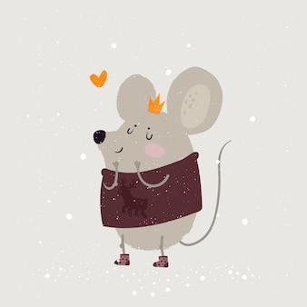 Illustratie van een muis, een symbool van 2020. leuke muizenprinses in kroon