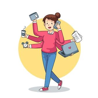 Illustratie van een multitasking persoon