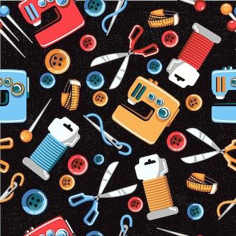 Illustratie van een naadloos patroon van verschillende naaimaterialen.