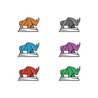 Illustratie van een neushoorn met zes kleuren keuzes