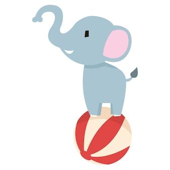 Illustratie van een olifant die zich boven een bal bevindt
