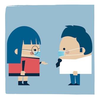 Illustratie van een onderneemster en een zakenman die maskers op het werk dragen