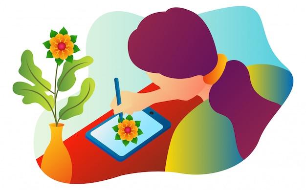 Illustratie van een ontwerper die in de loop van de dag op een tablet trekt.