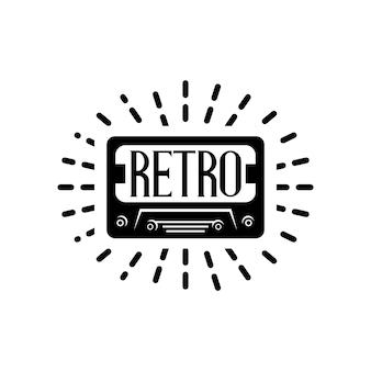 Illustratie van een oude cassette met een retro-stijl.